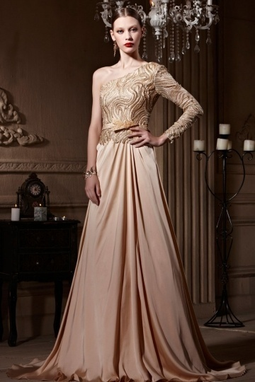 Dressesmall One Shoulder Embroidery Open Back Court Train Long Formal Dress