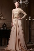 One Shoulder Embroidery Open Back Court Train Long Formal Dress