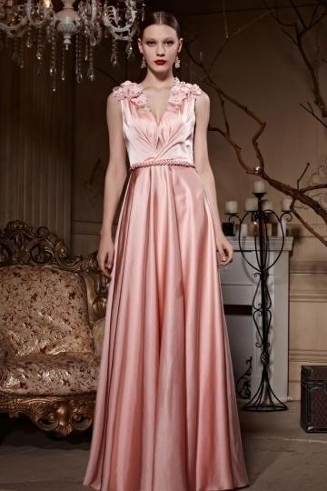 Dressesmall Pink Tone Empire Flower Sheer Back Sleeveless Floor Length Formal Dress