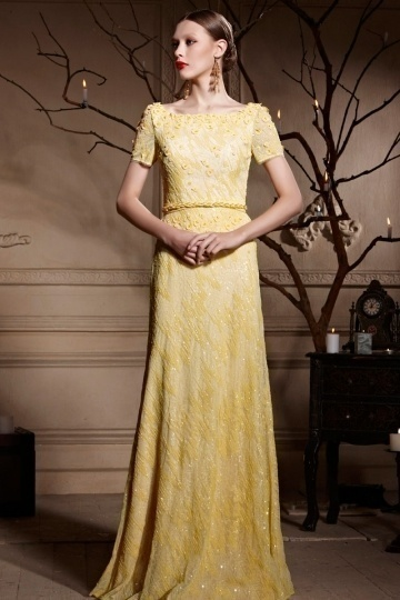 Dressesmall Yellow Tone Bateau Open Back Sequins Short Sleeves Long Prom Dress