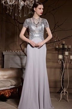Color Block Gray Short Sleeves A line Floor Length Chiffon Prom Dress
