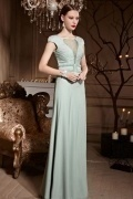 Green Tone Empire Pearl Cap Sleeves Sheer Back Long Chiffon Prom Dress