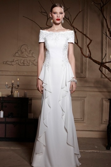 Dressesmall White Off Shoulder Embroidery Zipper Floor Length Chiffon Formal Dress