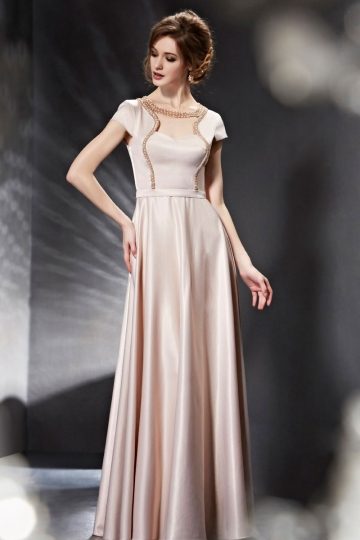 Dressesmall Simple Beading A Line Floor Length Suqare Formal Dress