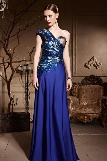 Dressesmall Chic One Shoulder Blue Tone Beading A line Floor Length Formal Dress