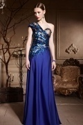 Chic One Shoulder Blue Tone Beading A line Floor Length Formal Dress