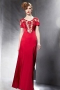 Vintage Appliques Beading Red Short Sleeves Long Formal Dress