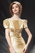 Stunning Beading Gold Short Sleeves Long Formal Dress