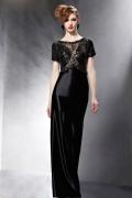 Chic Schwarzes Rund Ausschnitt Spitze Abendkleid aus Satin