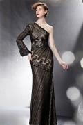 Prägnantes Meerjungfrau Stil 1 Schulter schwarzes Abendkleider mit langem Ärmel