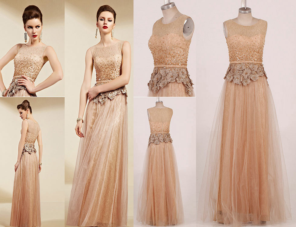 Sexy champagne tulle a line long flower formal dress detail design