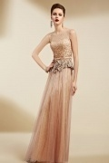 Sexy Champagne Tulle A Line Long Flower Formal Dress
