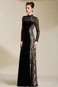 Vintage Column Black Velvet High Neck Long Evening Dress With Sleeves