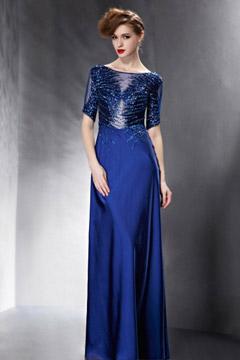 Brillante robe soirée bleue ornée de sequins dos semi transparent