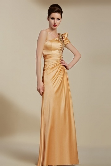 Dressesmall Vintage Champagne Long One Shoulder Embroidery Evening Dress With Sleeves