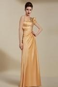 Elegantes goldes Bodenlanges A-Linie Abendkleider aus Satin