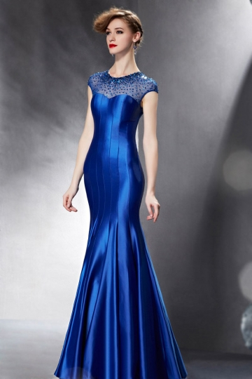 Langes Meerjungfrau Blaues Rund Sequins Abendkleid aus Satin Persunshop