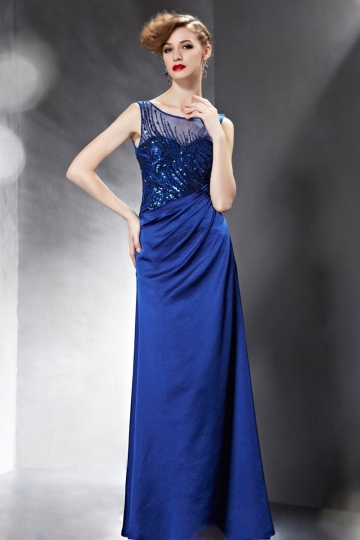 Dressesmall Modern Taffeta Blue Bateau Sequins Evening Dress With Sleeves