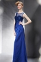 Modern Taffeta Blue Bateau Sequins Evening Dress With Sleeves