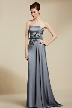 Modern Gray A Line Strapless Brush Train Sequins Formal Dress