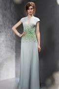 Vintages Grünes Kerbe Ausschnitt A Linie Langes Perle Abendkleid