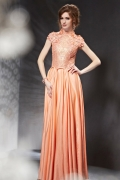 Chic Taffeta A Line High Neck Flowers Evening Dress With Sleeves