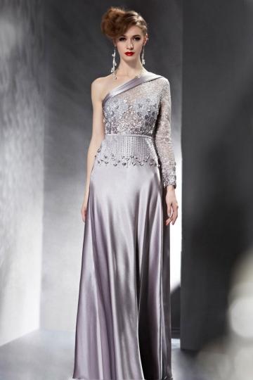 Dressesmall Modern One Shoulder A Line Flowers Sleeved Evening Dress