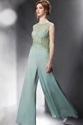 Chic Grünes Rund Ausschnitt Langes Perle Abendkleid aus Chiffon