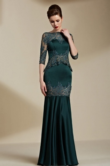 Vintages Grünes Meerjungfrau Bodenlang Perle Abendkleider aus Satin Persunshop