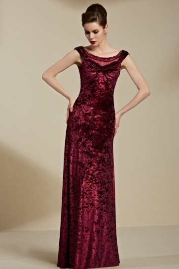 Dressesmall Chic Column Velvet Red Scoop Long Sleeveless Evening Dress