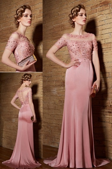 Dressesmall Chic Sheath Bateau Satin Pink Sweep Train Prom Dress with Sleeves