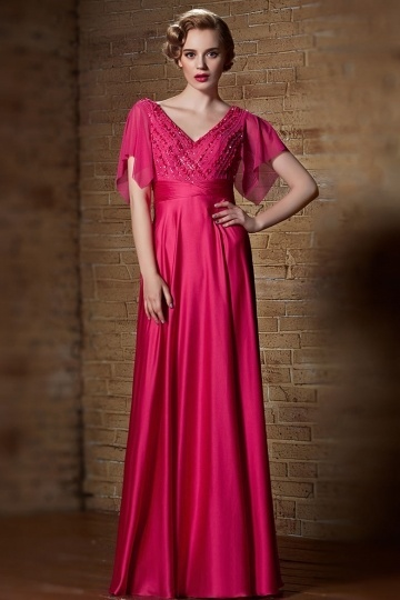 Dressesmall Sexy V Neck Fuchsia A Line Long Beading Evening Dress With Short Sleeves