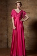 Sexy V Neck Fuchsia A Line Long Beading Evening Dress With Short Sleeves