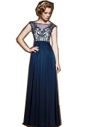 Chic Blue Chiffon A Line Long Bateau Embroidery Prom Dress With Sleeves