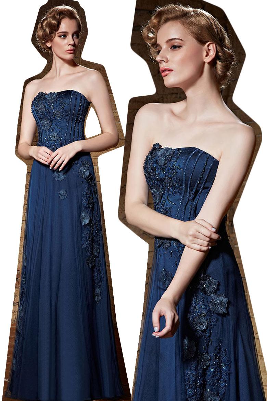 Neues Trägerloses blaues langes A-Linie Abendkleid aus ...
