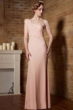 Robe rose de soirée chic asymétrique