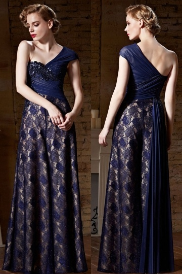 Dressesmall Modern One Shoulder Lace Blue Long Sequins Prom Dress With Short Sleeves