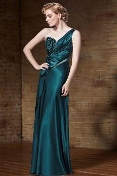Elégante Robe de soirée longue asymétrique à potrine fleur agrémenté de perles