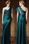 Chic Satin Green A Line One Shoulder Beading Long Prom Dress