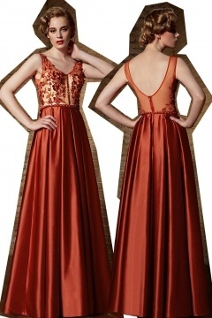 Schönes A-Linie V-Ausschnitt Bodenlanges Abendkleider aus Satin