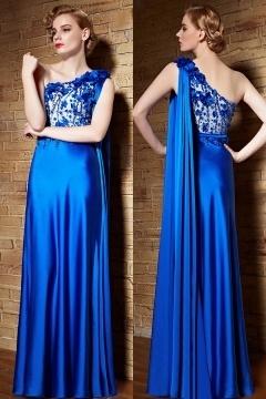 Robe de cérémonie longue asymétrique bleu électrique fleurettes