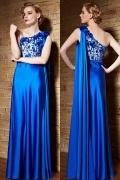 Luxus Ein Schulter A-Linie blaues Bodenlanges Abendkleider aus Satin