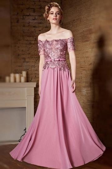 Sexy rosa Off Schulter A-Linie Abendkleider aus Chiffon Persunshop