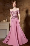 2015 Sexy A-Linie rosa Off Schulter A-Linie Abendkleider aus Chiffon