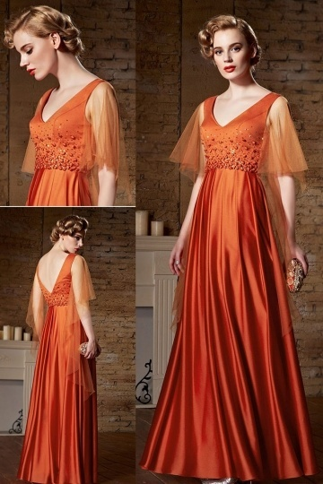 Dressesmall Sexy V Neck Satin Orange A Line Beading Long Evening Dress Sydney