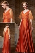 Sexy V Neck Satin Orange A Line Beading Long Evening Dress Sydney