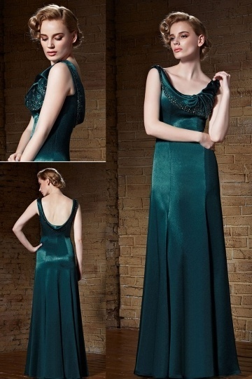 Dressesmall Gorgeous Satin Green Scoop Long A Line Beading Prom Dress