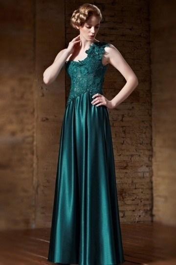 Dressesmall Modern Green Satin Long One Shoulder Flowers Prom Dress
