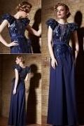 Luxus A-Linie Bodenlanges Abendkleid mit Ärmeln aus Satin
