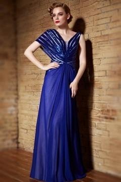 Sexy blaues A-Linie V-Ausschnitt langes Chiffon Abendkleider